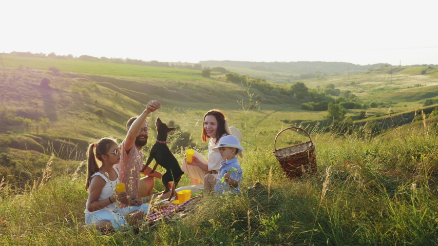 Family of four people on a picnic in the meadow at sunset. Family having fun, smiling, playing with their dog. | Shutterstock HD Video #1032681068