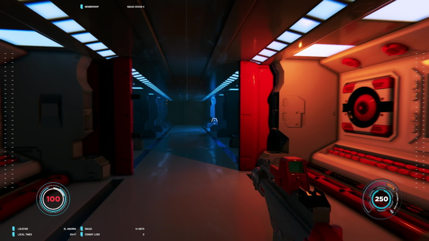 3D mock-up of loopable first person shooter in space. Futuristic space and battle. Videogame gaming | Shutterstock HD Video #1032725768