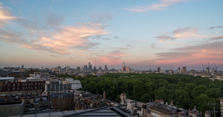 London city skyline day to night time lapse sunset view from Park Lane  | Shutterstock HD Video #1032748808