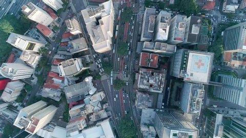 São Paulo, Sao Paulo / Brazil - Circa May 2019: Aerial image made with drone on Avenida Paulista, commercial center of the city of São Paulo.
