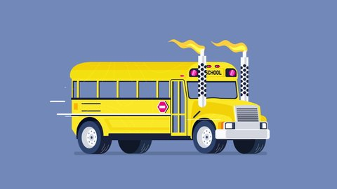 School bus in a hot rod style moving forward, isolated loop in 4K with alpha channel.
