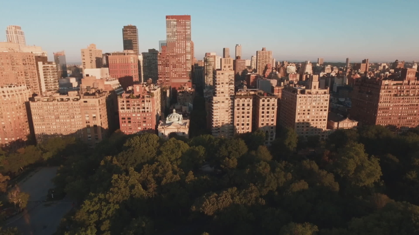 Aerial shot of Central Park and highrises, Manhattan, New York, United States