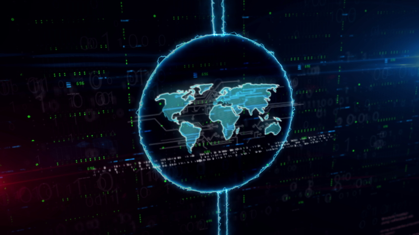 World symbol hologram in dynamic electric circle on digital background. Modern concept of global business, worldwide network, globalization, international communication and social media. | Shutterstock HD Video #1033115408