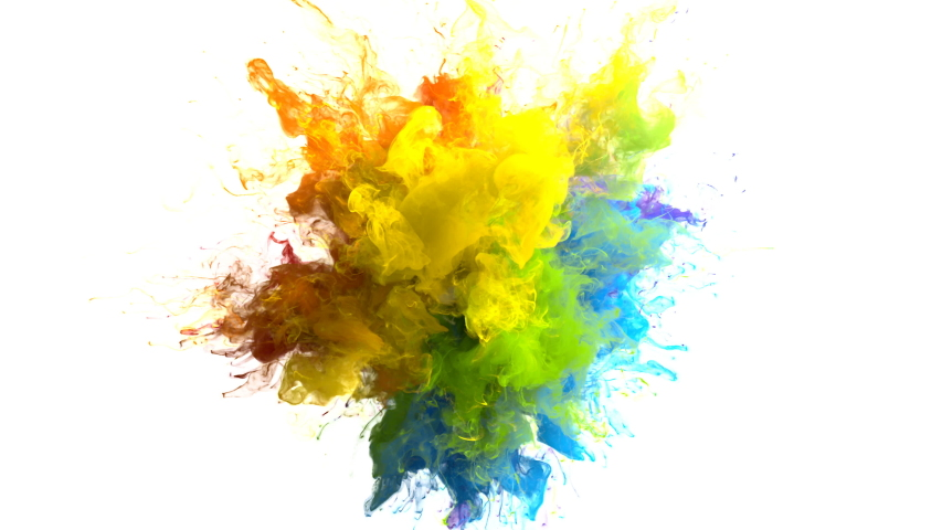 Color Burst iridescent multicolored colorful rainbow smoke powder explosion fluid ink particles slow motion alpha matte isolated on white | Shutterstock HD Video #1033137368