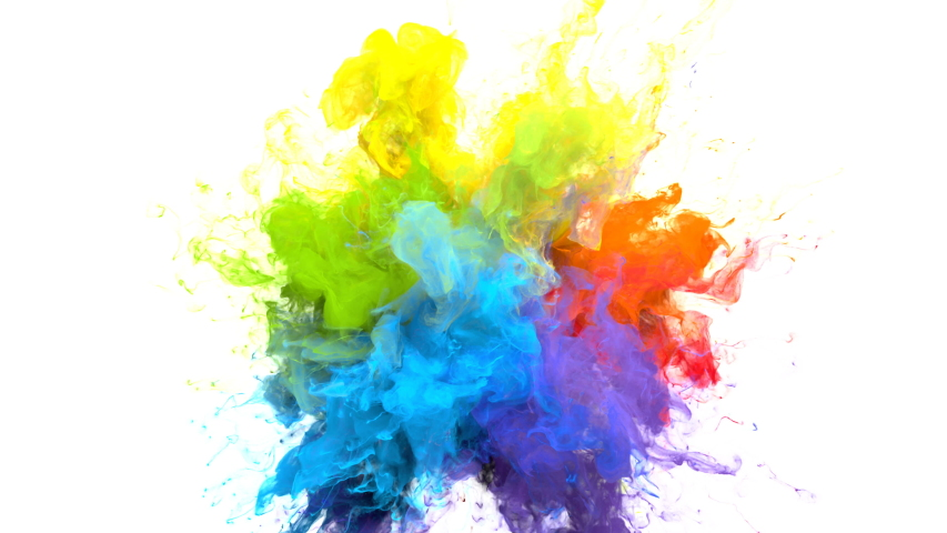 Color Burst iridescent multicolored colorful rainbow smoke powder explosion fluid ink particles slow motion alpha matte isolated on white | Shutterstock HD Video #1033137398