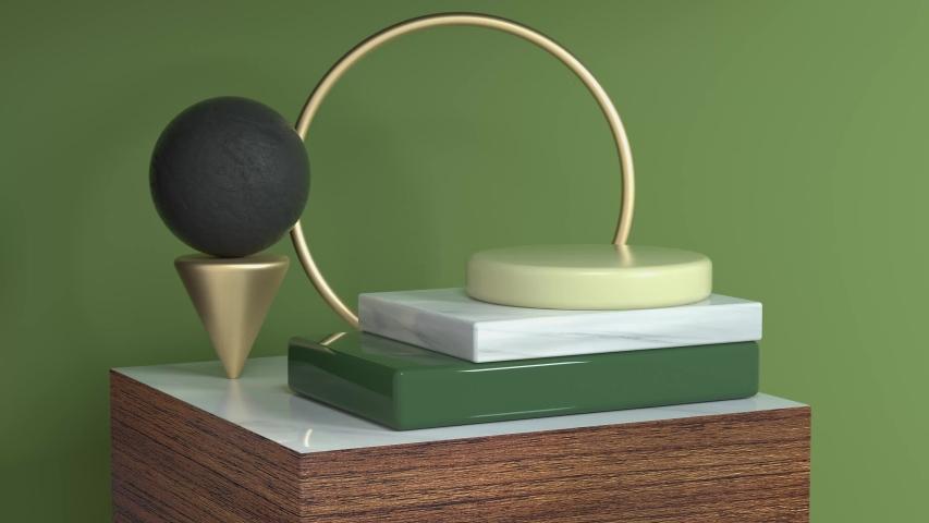 Green scene geometric object wood podium set 3d rendering motion abstarct   Shutterstock HD Video #1033252748