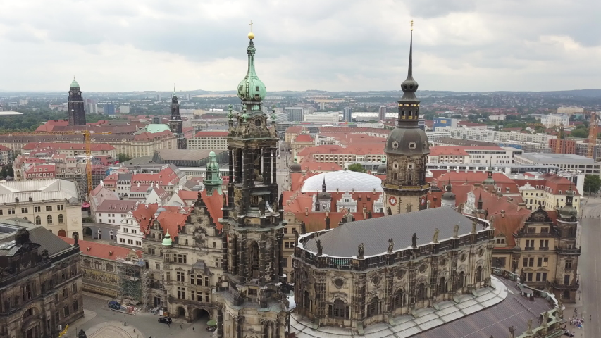 The splendor of the architecture of the Dresden churches and surrounding areas. Shooting a drone. | Shutterstock HD Video #1033427708