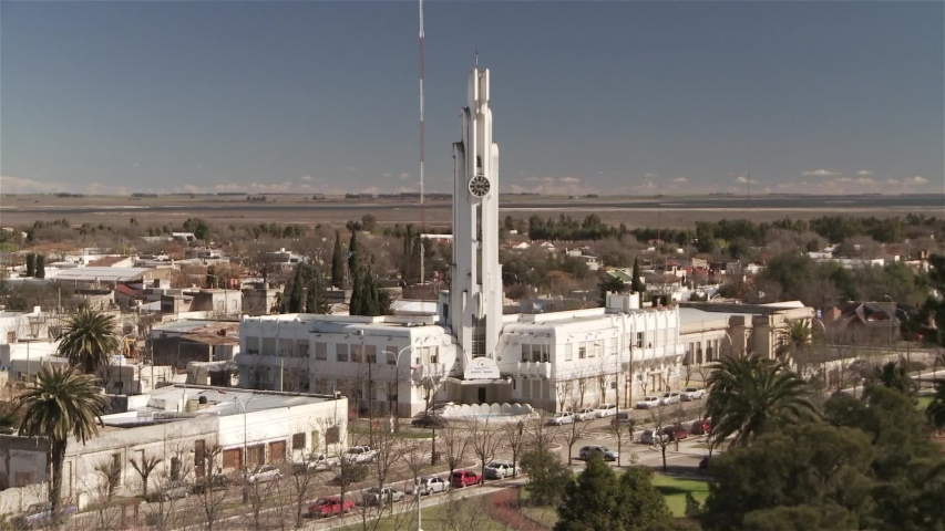 Town Hall in Carhue, Argentina, built by Francisco Salamone. These Buildings were some of the first examples of Modern Architecture in Rural Argentina.  | Shutterstock HD Video #1033457498