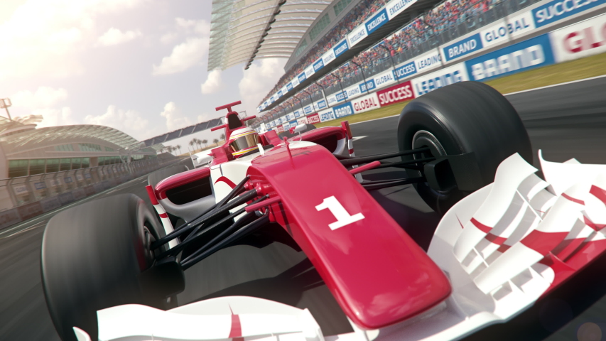 Generic formula one race car driving along the homestretch over the finish line - dynamic front view camera - realistic high quality 3d animation