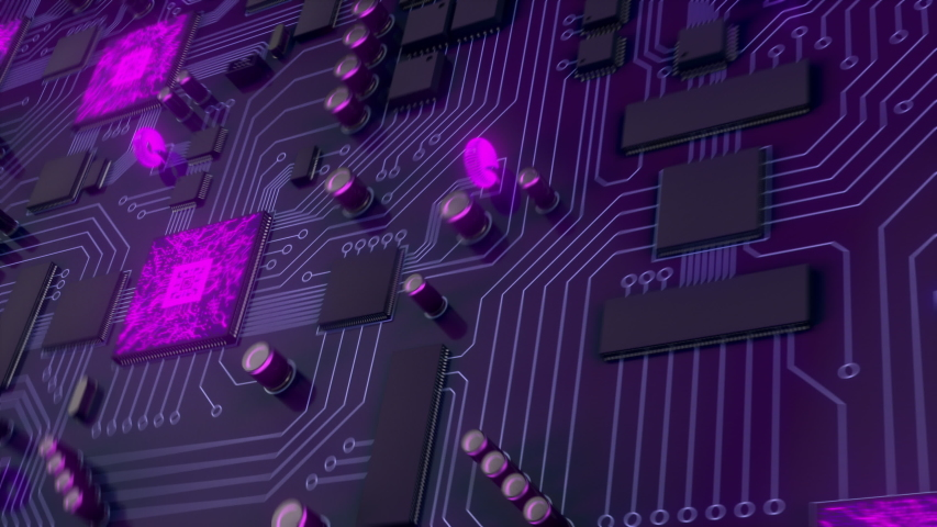 Purple printed circuit board with electrons html code flying into the future. The server processes the data. Loading data by the server/Load data from the server code html.