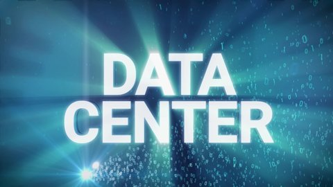 Seamless looping 3d animated digital maze with the word Data Center in 4K resolution