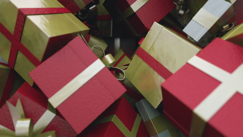 Rain of Christmas Presents with camera rotation   Shutterstock HD Video #1033577948
