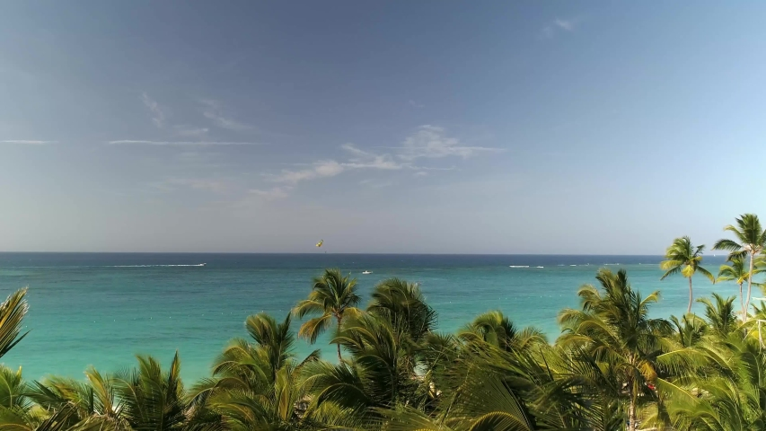 Flying Over Tropical Resort Beach, Aerial Drone Landscape Ocean Birds | Shutterstock HD Video #1033582748