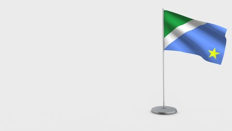 Mato Grosso Do Sul waving flag animation on Flagpole. Perfect for background with space on the left side.