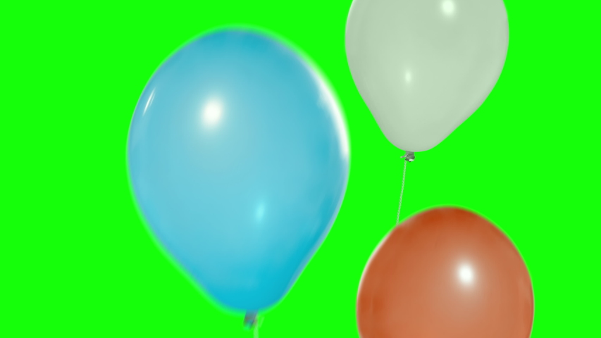 Colorful balloons flying in the air. Flying balloons. Multicolored balloons. Balloons rising in the air. Helium balloon with rope. Chroma key. Green screen. Ultra HD - 4K (2160p), ProRes 422, 30 fps. | Shutterstock HD Video #1033705088