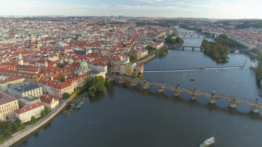 PRAGUE, CZECH REPUBLIC - MAY, 2019: Aerial pamorama drone view of the city centre, cityscape of Prague, flight over the city, Area Old Town. | Shutterstock HD Video #1033931588