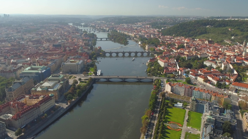 PRAGUE, CZECH REPUBLIC - MAY, 2019: Aerial pamorama drone view of the city centre, cityscape of Prague, flight over the city, Area Old Town. | Shutterstock HD Video #1033932038