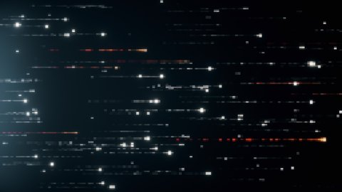 Abstract technology background with animation of fast flying flickering code particles as data transfer. Seamless loop 3d render. Modern color spectrum