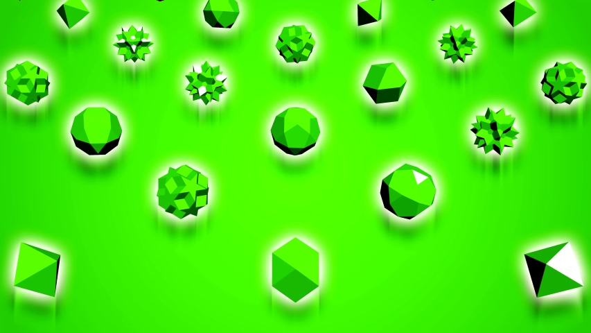 Abstract 3d rendering of green geometric shapes. Computer generated loop animation. Modern background, seamless motion design for poster, cover, branding, banner, placard. 4k UHD   Shutterstock HD Video #1033993358