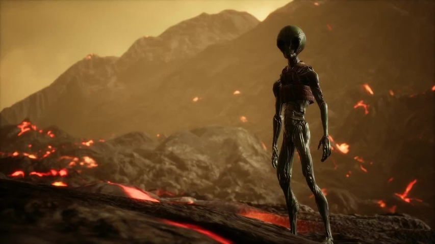 Alien alone  after battle for spaceships in strange planet MAKE YOUR CINEMATIC SCENE Please GO TO MY portfolio  and choose Sort By NEWEST , to show the sequence OF Cinematic scenes package Enjoy   Shutterstock HD Video #1034027228