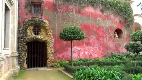 SEVILLE, SPAIN - JANUARY 26 2017: La Casa de Pilatos (Pilate House) is an Andalusian palace, permanent residence of Dukes of Medinaceli, Renaissance and Mudejar styles, prototype of Andalusian palace.
