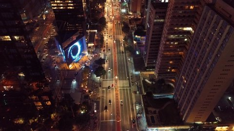 Aerial view of Paulista Avenue, São Paulo, Brazil. Night's scenery. Downtown's scene.  Landmark of the city, Heart of São Paulo. Illuminated avenue.