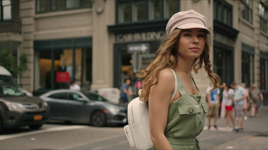 Pretty french lady walks around Manhattan. Moment from traveler's life. First time in New York. Famous views of big city. Enjoying the moment and feeling happy. | Shutterstock HD Video #1034429888