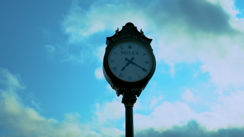 Bandon , or / united states , 07 08 2019 rolex clock at golf course in  bandon