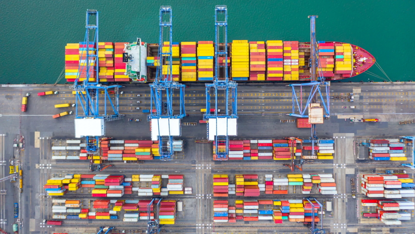 4k, Aerial view timelapse container ship carrying container in import export business logistic and transportation of international by container ship in the open sea. | Shutterstock HD Video #1034574428