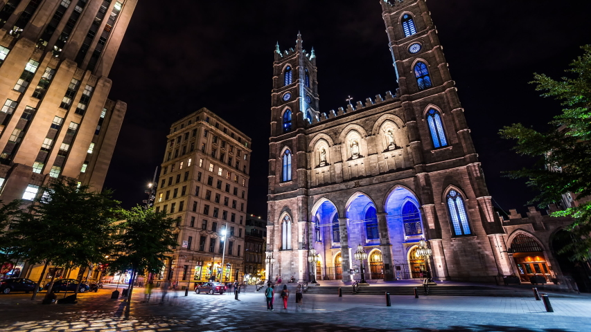 Notre-Dame Basilica of Montreal, Canada time lapse at night | Shutterstock HD Video #1034663378