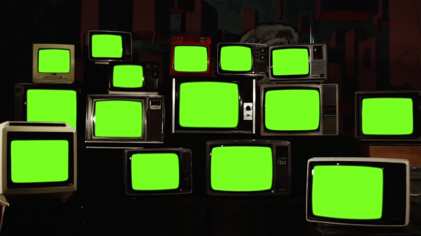 "Stacked Retro Vintage TVs Turning On Green Screens. You can replace green screen with the footage or picture you want with ""Keying"" effect in AE (check out tutorials on Internet). 