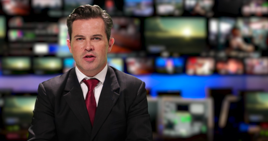 Male News presenter reading the evening news about global warming | Shutterstock HD Video #1034745578