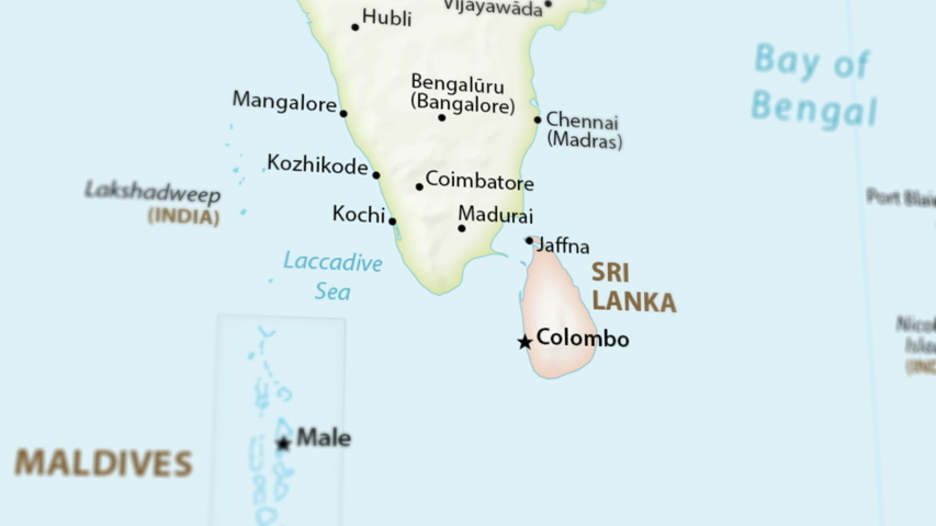Sri Lanka and Southern India Stock Footage Video (100% Royalty-free) on political map of crimea, political map of maldives, political map of cayman islands, political map of western sahara, political map of marshall islands, political map of the ivory coast, political map of the arabian sea, political map of indus river, political map of the british isles, political map of the soviet union, political map of republic of congo, political map of réunion, political map of arab countries, political map of cyprus, political map of malaysia, political map of montserrat, political map of west bank, political map of southeast europe, political map of mekong river, political map of u s a,