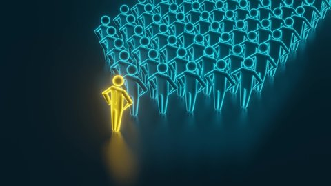 Many man figures domino effect. Executive and risk control concept. A team of people who fall by the domino effect. 3D rendering
