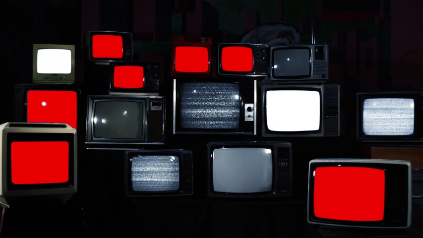 """Stacked Vintage TVs turning on and off Red Screens. Blue Dark Tone. You can replace Red Screen with the Footage or Picture you want with """"Keying"""" effect in AE (check out tutorials on Internet). 