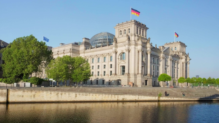 Reichstag building german government and river Spree in Berlin, Germany