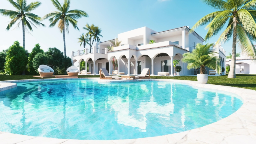 Private luxury Villa with Swimming Pool and palms. Realistic 3d visualisation in 4k resolution. | Shutterstock HD Video #1035160688
