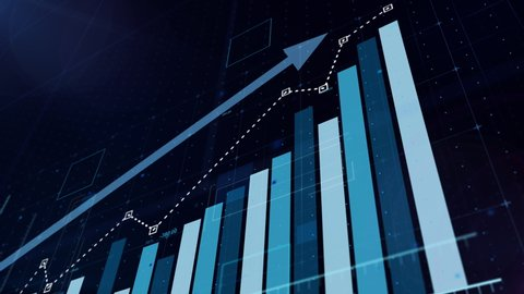 Beautiful 3D animation of rising blue bar graph following the arrow, ultra HD 4K