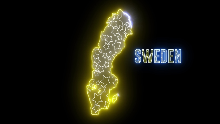 Abstract creative neon lights Sweden map. Outline of Swedish country with glowing led lamp.  | Shutterstock HD Video #1035298898