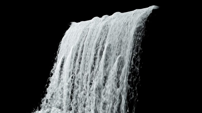 Waterfall texture loop 4K with, isolated on black with alpha #1035398768