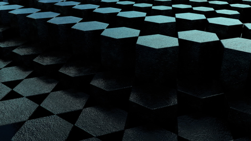 Black Hex 3D Animation Loop 2 is a looping video of textured hexagons rising and falling in a random sequence. Great background for any presentation or production. | Shutterstock HD Video #1035476438