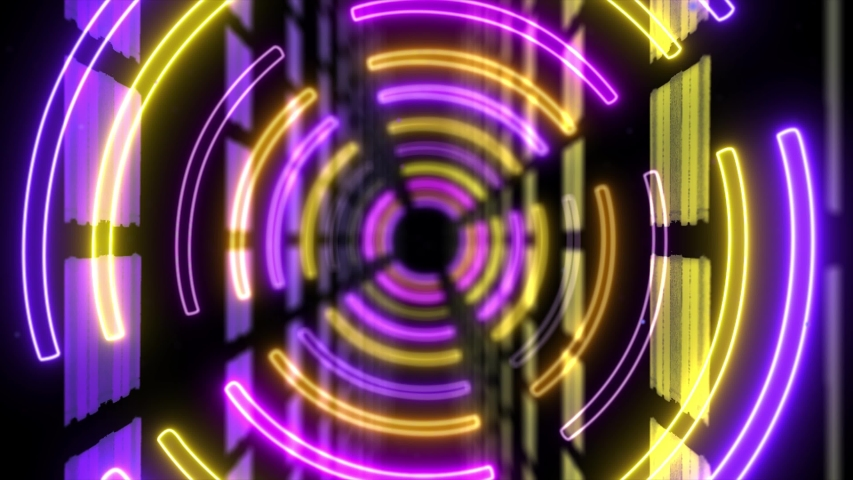 Abstract creative neon, led tunnel with round, circular shapes. Futuristic yellow and purple floor, hall, stage with rotating perspective. | Shutterstock HD Video #1035476978
