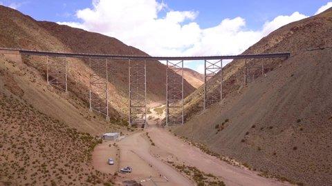 Aerial Drone Scene of Tren A Las Nubes, La Polvorilla viaduct, near San Antonio De Los Cobres, northwest of Argentina. Camera Travels Forward