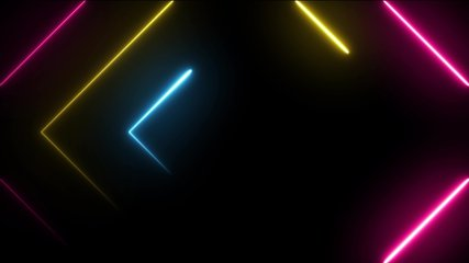 Neon background 3D fly animation. Abstract background with neon in seamless and looped animation. Futuristic light tunnel. 3D flight on 4k.