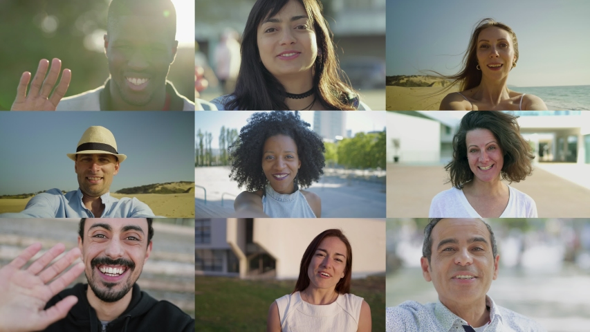 Collage of happy people talking to camera. View from camera. Multiscreen montage, split screen collage. Concept of storytelling | Shutterstock HD Video #1035665528