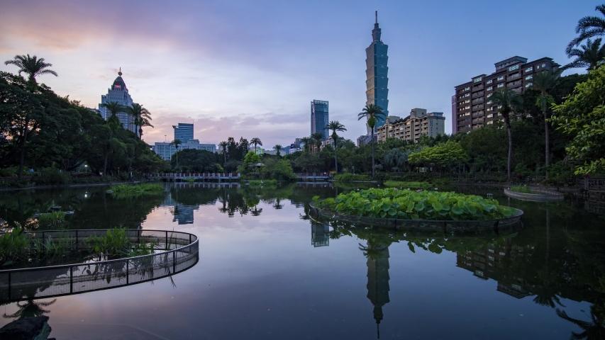 Taipei, China - 26 August 2019 , scenery at lake garden Taipei | Shutterstock HD Video #1035897788