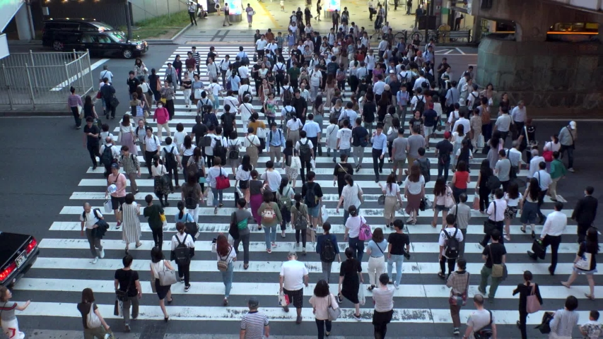 UMEDA, OSAKA, JAPAN - CIRCA JULY 2019 : Aerial blurred view of zebra crossing near Osaka train station. Crowd of people at the street. Shot in busy rush hour. Slow motion. #1036013348