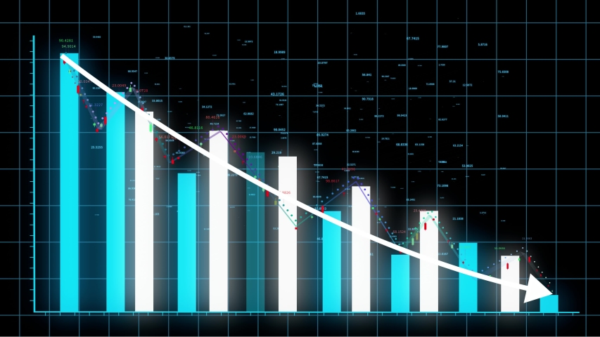 4k HUD graph,Bar graph fall down with arrow,Financial data and diagrams showing a decline in profits,charts and flowing counters of numbers,Business digital trend.  | Shutterstock HD Video #1036020938