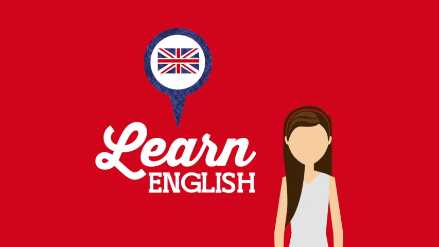 Woman character with learn english ,hd video animation | Shutterstock HD Video #1036035038