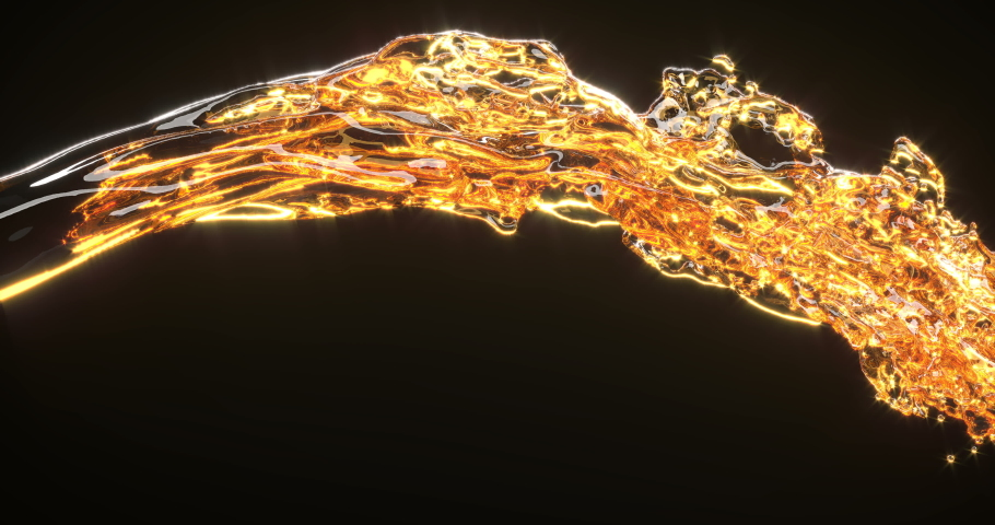 Golden liquid stream 3d realistic footage. Spilling orange fluid isolated on black background. Oil splatters, honey, whiskey splashes close up. Beer pouring, dynamic flow abstract video | Shutterstock HD Video #1036076198